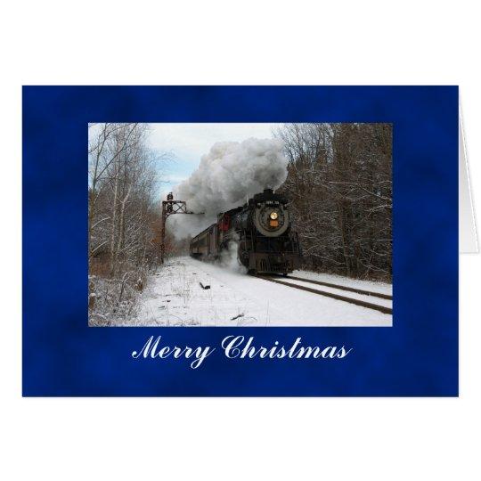 Steam Train Merry Christmas Card
