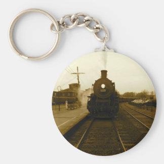 Steam Train Sepia Art Photograph Keychain