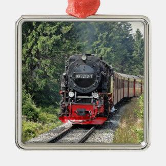 Steam train Silver-Colored square decoration
