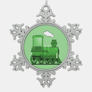 Steam Train Snowflake Pewter Christmas Ornament