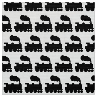 Steam Train Symbol Pattern - Black Fabric
