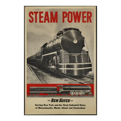 Steam train vintage travel poster ad retro prints zazzle for Vintage train posters