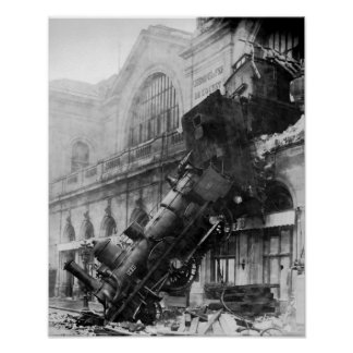 Steam Train Wreck Vintage  Poster