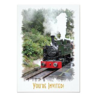 STEAM TRAINS 13 CM X 18 CM INVITATION CARD