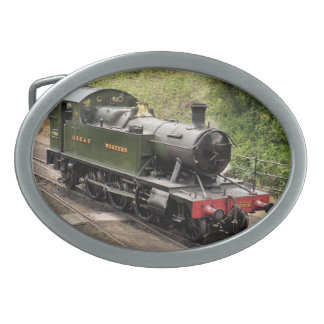 STEAM TRAINS OVAL BELT BUCKLE