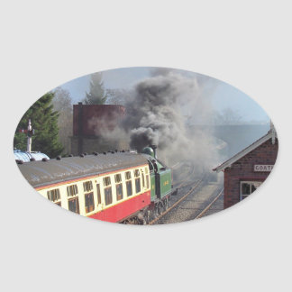 STEAM TRAINS OVAL STICKER