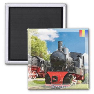 Steam trains square magnet
