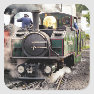 STEAM TRAINS SQUARE STICKER