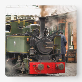 STEAM TRAINS SQUARE WALL CLOCK