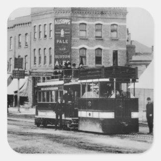 Steam Tram in North London in the 1880s Square Sticker