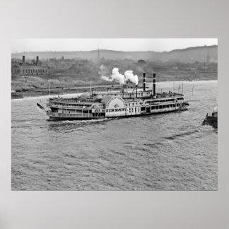 Steamboat Cincinnati 1906 BW Poster