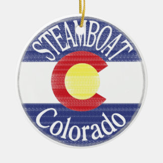 Steamboat Colorado circle flag Christmas Ornament