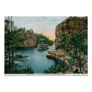 Steamboat, Dells of Wisconsin River Vintage Poster