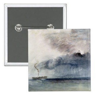 Steamboat in a Storm, c.1841 (w/c & pencil on pape 15 Cm Square Badge