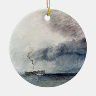 Steamboat in a Storm, c.1841 (w/c & pencil on pape Round Ceramic Decoration