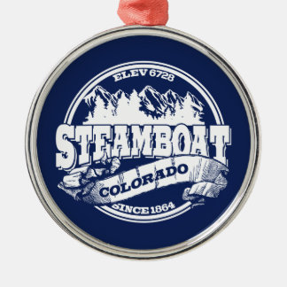 Steamboat Old Circle Blue Christmas Ornament