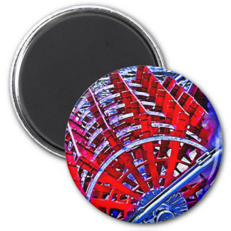 Steamboat Paddle Wheel 6 Cm Round Magnet