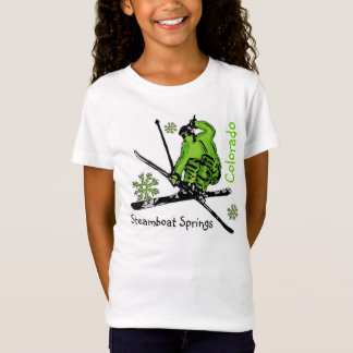 Steamboat Springs Colorado girls ski green tee