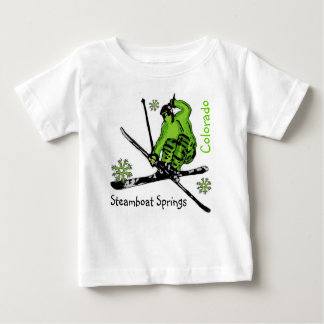 Steamboat Springs Colorado green ski baby tee