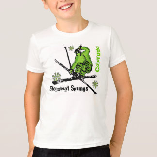 Steamboat Springs Colorado green skier boys tee