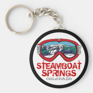 Steamboat Springs Colorado red goggle keychain