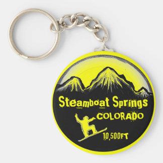 Steamboat Springs Colorado snowboard art keychain