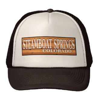Steamboat Springs Colorado wooden log sign Cap