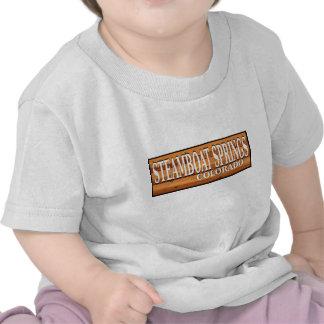 Steamboat Springs Colorado wooden log sign Tshirt