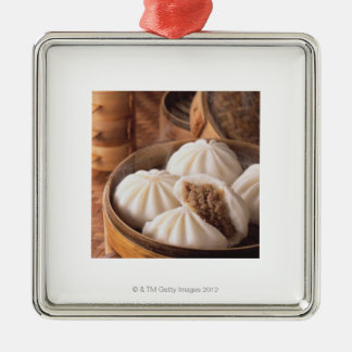 Steamed Bun Silver-Colored Square Decoration