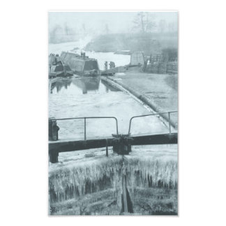 Steamer and butty on the canal in winter photo print