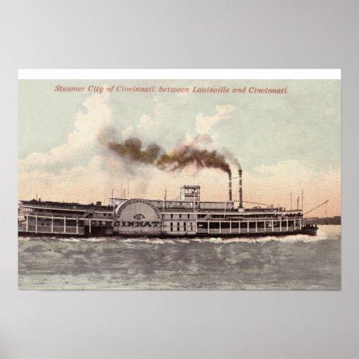 Steamer City of Cincinnati Poster