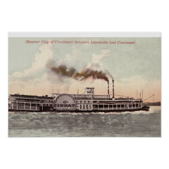 Steamer City of Cincinnati Poster