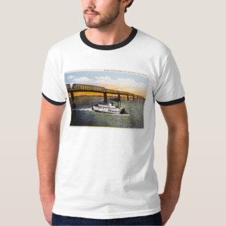 Steamer Passing Bridge, Ohio River, Cairo,Illinois T-Shirt