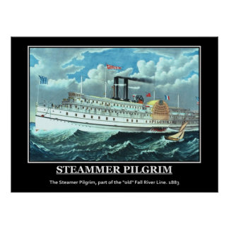 Steamer Pilgrim 1883 Vintage Poster Print