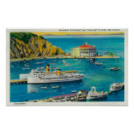 Steamers Catalina and Avalon at Pier, and Casino Poster
