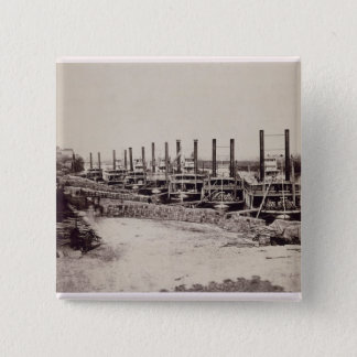 Steamers on the Mississippi (b/w photo) 15 Cm Square Badge