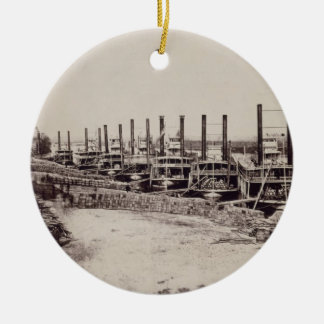 Steamers on the Mississippi (b/w photo) Christmas Ornament