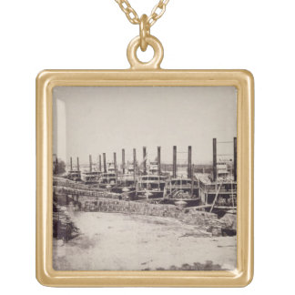 Steamers on the Mississippi (b/w photo) Gold Plated Necklace