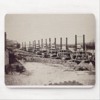 Steamers on the Mississippi (b/w photo) Mouse Mat