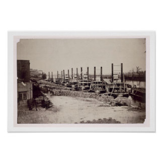Steamers on the Mississippi (b/w photo) Poster