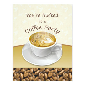Steaming cappuccino coffee cup Party Invitation