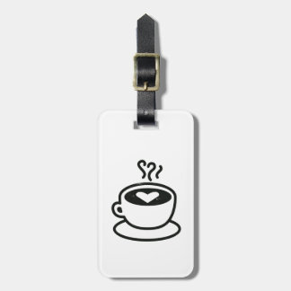 Steaming Coffee Cup with Heart Design (worn style) Luggage Tag