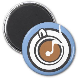 Steaming Coffee Mug 6 Cm Round Magnet