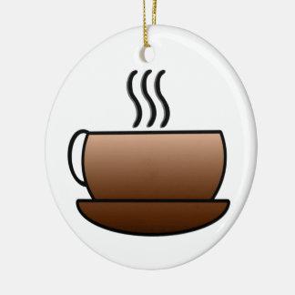 Steaming Coffee Mug Round Ceramic Decoration