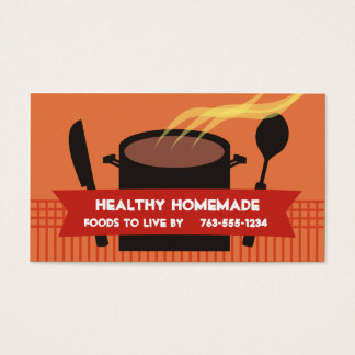 steaming cooking pot knife spoon chef business ... business card