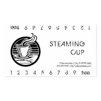 Steaming Cup in Hand Logo Punch Card Pack Of Standard Business Cards