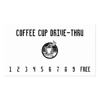 Steaming Cup in Hand Punchcard Business Card Template