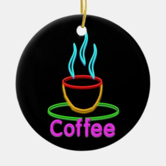 Steaming Cup of Neon Coffe Christmas Ornament