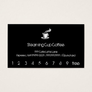 Steaming Cup Punch-Card / Loyalty Business Card