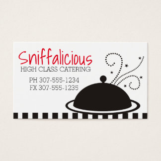 Steaming food dome platter chef catering business card